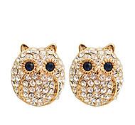 Lureme®Owl Pattern Rhinestones Earrings