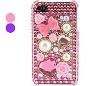 Hülle für iPhone 4/4S mit Strass-Steinen und Schleifen Design (Verschiedene Farben)