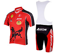 Kooplus - Quick Dry Mens BIB Short Cycling(Red Gallop)