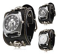 Unisex Punk Style Skull Pattern Black PU Band Quartz Wrist Watch (Assorted Colors) Cool Watches Unique Watches
