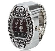 artefato mulheres estilo analógico liga anel de quartzo relógio (prata)