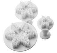 floco de neve bolo padrão e biscoitos molde de corte com êmbolo (3 peças)