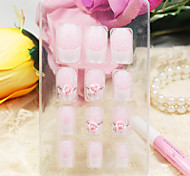 12PCS Full Cover Pink Rose Style Acrylic Nails & Tips With Nail Glue