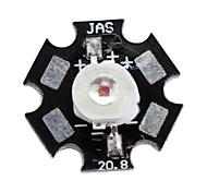 Epistar 620-630nm 3w 30-40lm 700mah led rouge ampoule avec une plaque d'aluminium (2,4-2.6v)