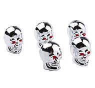 CHROME Skull Style Car Tire Valve Caps - Silver (5-Pack)