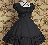 Camiseta de manga corta de la rodilla-longitud puro algodón color clásico vestido de Lolita