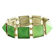 Lureme®Green Resin Silver Bracelet
