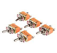 Control de energía eléctrica 3-pin del interruptor basculante (Orange, 5 unidades)