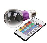 E26/E27 3 W 1 High Power LED 195 LM RGB/Color-Changing A Remote-Controlled Globe Bulbs AC 100-240 V