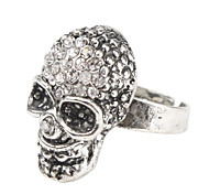 Fashion Skull Rhinestone Studded Ring