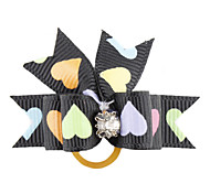Colorful Heart Pattern Tiny Rubber Band Hair Bow for Dogs Cats
