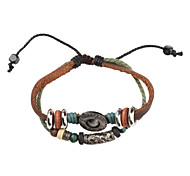 Z&X®  Fabric and Leather Bracelet Multilayer Vintage Bracelet with Shield