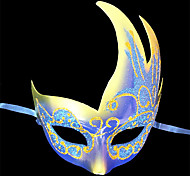 Blue Eye Shadow Pattern Plastic Half-face Mask