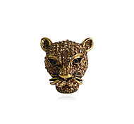 European Style Retro Studded With Drill Leopard Head Alloy Ring