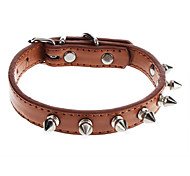 Adjustable Seven Rivet Style PU Leather Collar for Dogs (Assorted Color)
