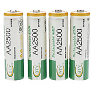 2500mAh BTY Rechargeable Ni-MH AA Battery (4PCS)