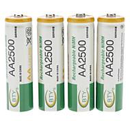 Bty 2500mah batería recargable Ni-MH AA (4pcs)