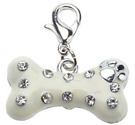 Chat Chien Etiquettes Strass Os Blanc Alliage