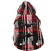 Dog Hoodie Red / Blue Winter Plaid/Check