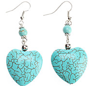 Jadeite Peach Heart Shape Turquoise Earrings