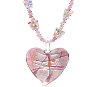 Butterfly Heart Shape Coloured Glaze Crystal Necklace