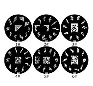 1PCS 2D Metal Flowers Nail Art Image Stamp Plate (Assorted Colors,NO.1-6)
