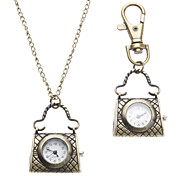 Unisex Handbag Style Alloy Analog Quartz Keychain Necklace Watch (Bronze)