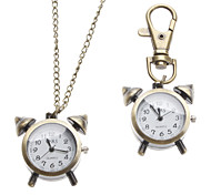 Unisex Alarm Clock Style Alloy Analog Quartz Keychain Necklace Watch (Bronze)