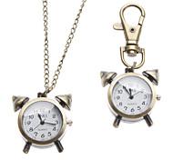 Unisex Alarm Clock Style Alloy Analog Quartz Keychain Necklace Watch (Bronze)