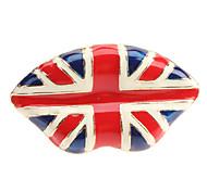 La Union Jack esmalte de color Anillo de la aleación ajustable