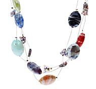 Oval Butterfly Coloured Glaze Necklace