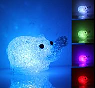 Elefante bonito em forma de luz colorida de cristal da lâmpada LED Night (3xLR44)