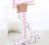 Socks/Stockings Sweet Lolita Lolita Lolita White Blue Lolita Accessories Stockings Print For Cotton