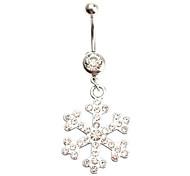 Snowflake Diamond Studded Stainless Navel Ring