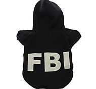 Fleeces FBI Pattern Noctilucent Style Hoodies for Dogs (Black,XS-L)