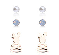 Korean fashion  drill pearl rabbit Earrings(3 pairs a set)