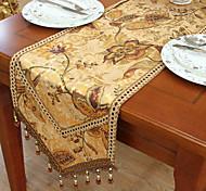 Tradicionais de impressão Ouro caminhos de mesa florais de poliéster