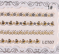 3PCS Nail Art Lace Transparent Nail Stickers No.3 (verschiedene Farben)