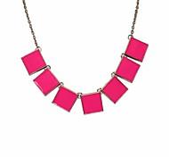 Quadratisches Stück Alloy Halskette (verschiedene Farben)