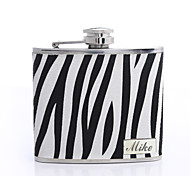 Personalized Gift Zebra-stripe 5oz PU Leather Flask