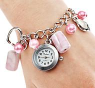 Femmes alliage Analog Watch Quartz Bracelet plastique (rose)