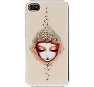 Girl with Eyes Closed Pattern Hard Case for iPhone 4/4S