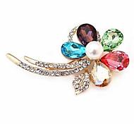 Crystal Flower Diamond-Studded Shining Brooch