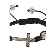 Arc Cross Shape Rhinestone Studded Fabric Knit Bracelace