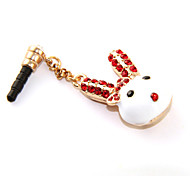 Diamond-Studded Rabbit Head Anti-Dust Earphone Jack