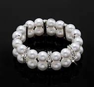 Ladies' Imitation Pearl/Rhinestone Strand In Silver Alloy