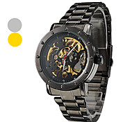 Men's Auto-Mechanical Hollow Dial Black Steel Band Wrist Watch