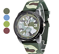 Unisex Camouflage Design Silicone Analog Quartz Wrist Watch (Multi-Colored)