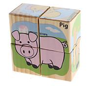 3D DIY Wooden Farm Animal Puzzle Blocks (4pcs)