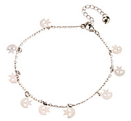 Moon And Stars-dependent Pendant Metal Anklet(Platinum)